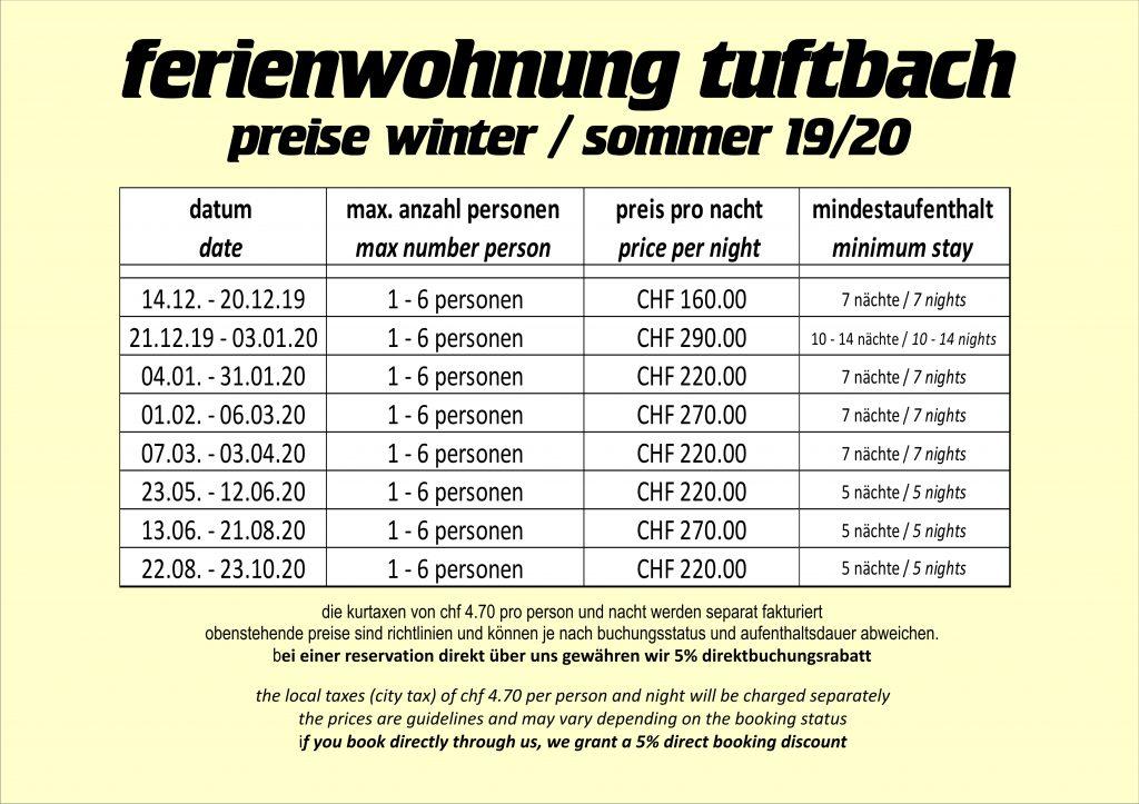 Preise Ferienwohnung Grindelwald